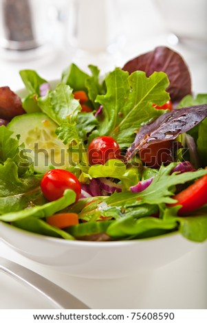 Fresh Mixed salad with Tomatoes, onions, peppers, cucumbers