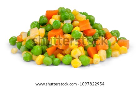 Fresh mixed vegetables  on white. Golden mix.
