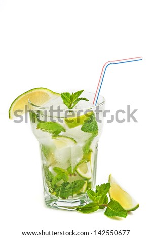 Fresh mojito cocktail isolated on white