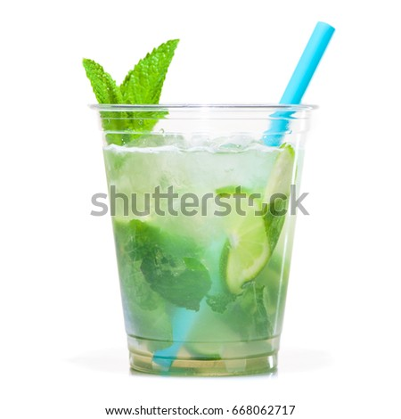 fresh mojito cocktail with lime, mint and blue drinking straw in plastic cup isolated on white background.  #668062717