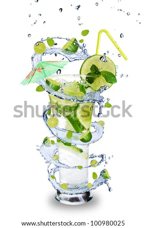 Fresh mojito drink with splash spiral around glass. Isolated on white background
