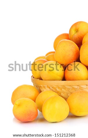 Fresh natural apricot in wicker basket isolated on white