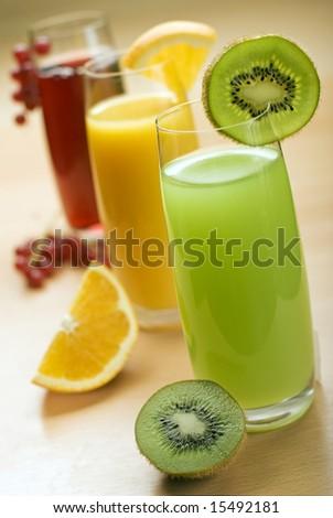 fresh natural kiwi juice in focus close up