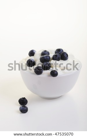 fresh natural yogurt and blueberries