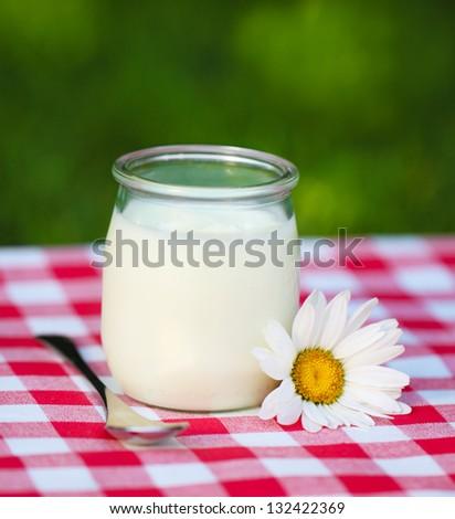 Fresh natural yogurt in a glass jar with daisy flower