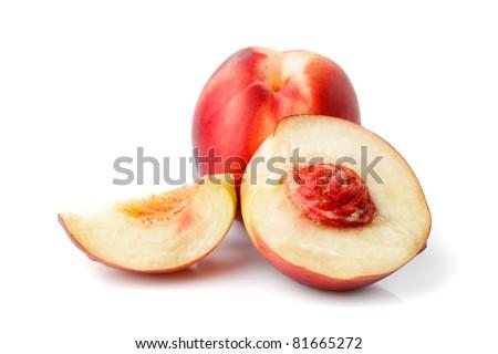 Fresh nectarine isolated on white background closeup