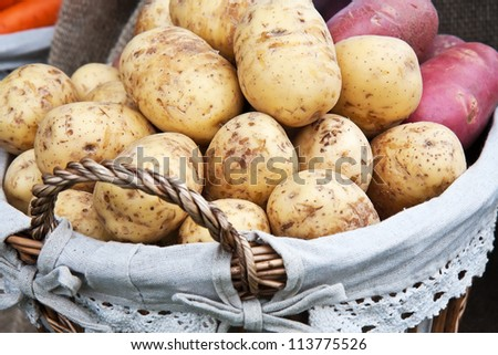 Fresh new potatoes in the basket