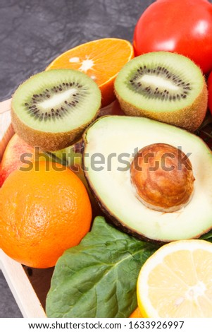 Fresh nutritious ripe fruits and vegetables. Concept of healthy lifestyles, nutrition, slimming and dieting