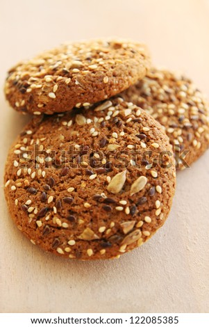Fresh oatmeal cookies with seeds of cereals