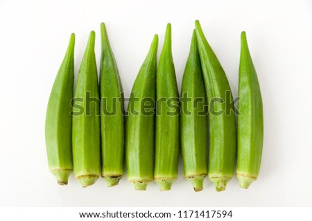 fresh okra isolated on a white background