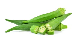 fresh okra isolated on white background