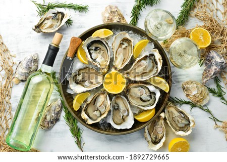 Fresh opened oysters and white wine and lemon. Free space for your text. Seafood. Flat lay. Photo stock ©
