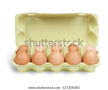 Fresh oragnic eggs in green carton isolated on white. Clipping path included.