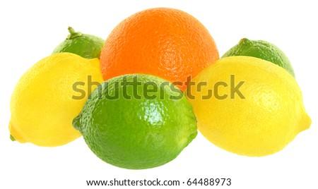 Fresh orange and lemon on a white background.