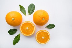 Fresh orange citrus fruit on white background. Top view