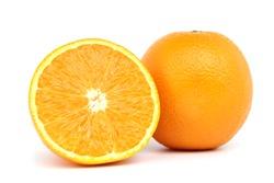 Fresh orange fruit isolated on white background.