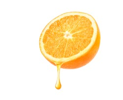 Fresh Orange juice dripping isolated on white background. Clipping path.
