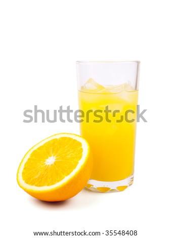 Fresh orange juice in glass isolated on white