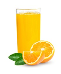 Fresh orange juice in glass or bottle with fruits, isolated on white