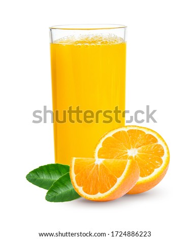 Fresh orange juice in glass or bottle with fruits, isolated on white Foto stock ©