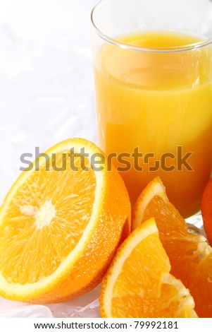 Fresh orange juice in ice