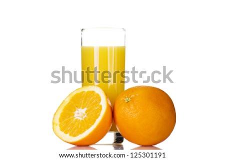 Fresh orange juice, isolated on white
