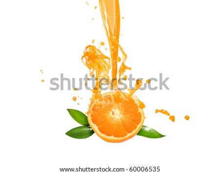 fresh orange juice on white