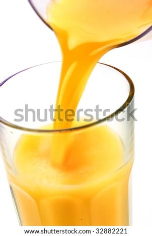 Fresh Orange Juice on White Background - stock photo