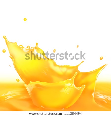 Fresh Orange juice splash making amazing waves and drops Digital Painting