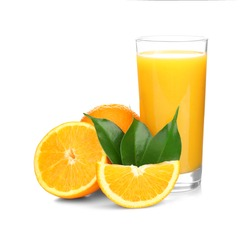 Fresh orange juice with fruits, isolated on white