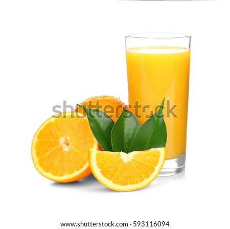 Photo of  Fresh orange juice with fruits, isolated on white