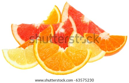 Fresh orange, lemon, grapefruit and tangerine on a white background. - stock photo
