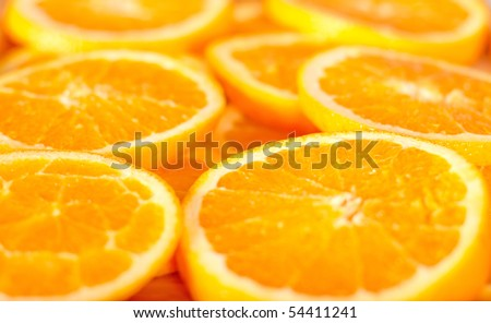 Fresh orange peels and slice background