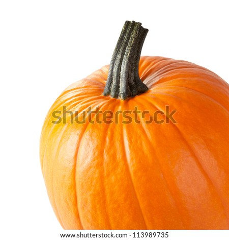 Fresh orange pumpkin isolated on white background with copy space