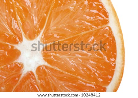 Fresh orange slide closeup isolated on white