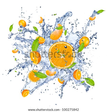 Fresh oranges falling in water splash , isolated on white background