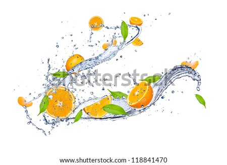 Fresh oranges in water splash, isolated on white background