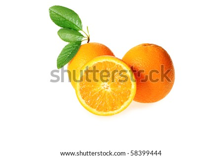 Fresh oranges isolated over white background.