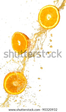 Fresh oranges with juice splash, isolated on white background