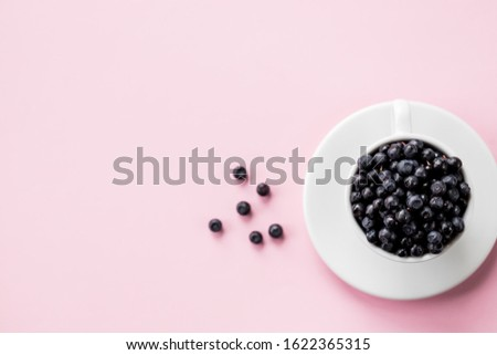 Fresh organic blueberries in ceramic cup . Copy space, isolated on pink background.Fresh raw organic farm blueberry in white cup.harvest. Healthy food. vegetarian food.
