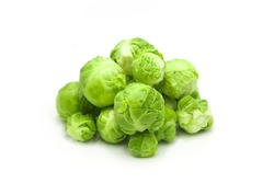Fresh organic brussels sprouts isolated on white background.