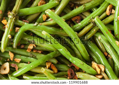 Fresh Organic Cooked Green Beans in a bowl