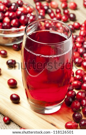 Fresh Organic Cranberry Juice against a background - stock photo