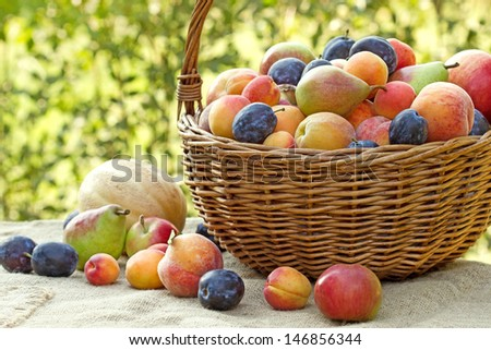 Fresh organic fruit in wicker basket