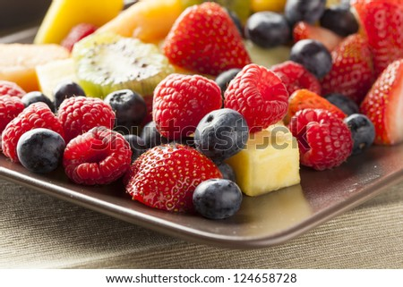 Fresh Organic Fruit Salad on a plate
