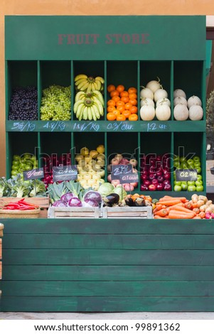Fresh organic Fruits and vegetables in market - stock photo