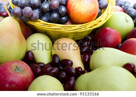 Fresh organic fruits in the wicker basket