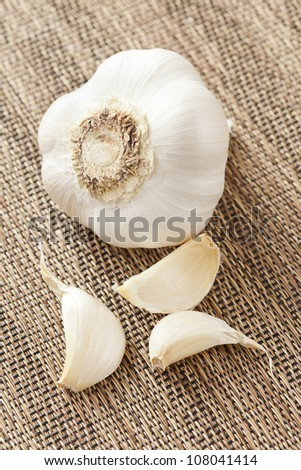 Fresh Organic Garlic Cloves on a background