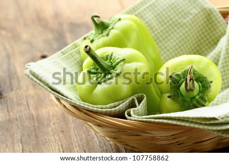 Fresh organic green peppers