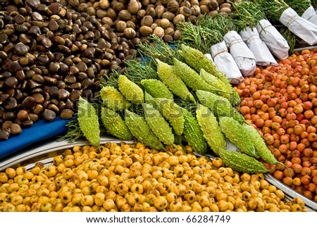 Fresh Organic Hawthorns and other goods At A Street Market In Istanbul, Turkey.  Carsamba Fatih Pazari (Bazaar)